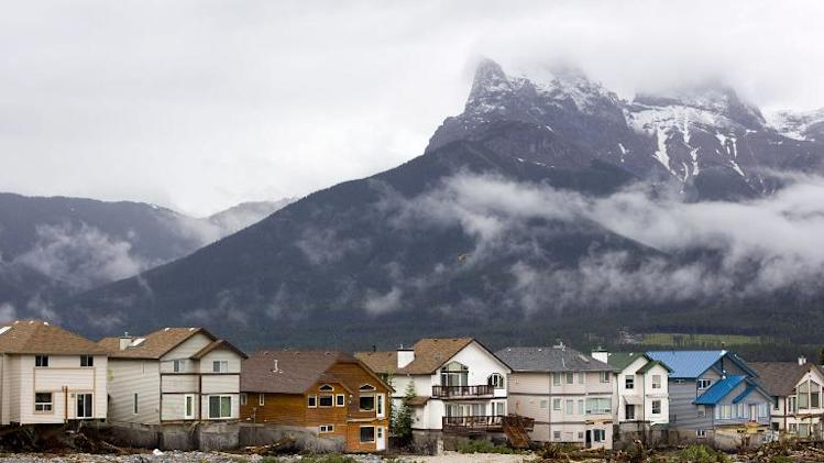 Three Sisters Mountain is seen on June 21, 2013 in Canmore, Alberta, Canada