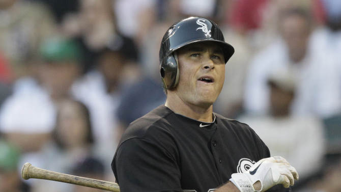 Chicago White Sox's Mark Teahen reacts after being called out on strikes during the third inning of a baseball game against the Minnesota Twins, Thursday, July 7, 2011, in Chicago. (AP Photo/Nam Y. Huh)