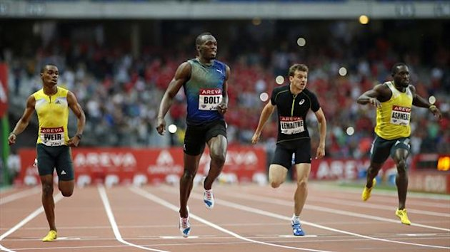 Usain Bolt of Jamaica crosses the finish line to win the men's 200 metres event during the IAAF Diamond League athletics meeting at the Stade de France Stadium in Saint-Denis (Reuters)