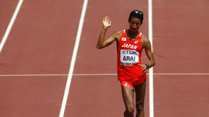 Arai finishes fourth in the men's 50km race walk final at the 15th IAAF Championships in Beijing