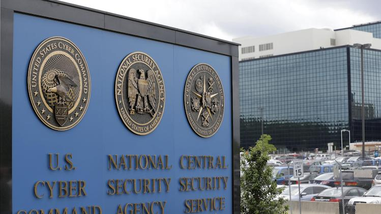 "A sign stands outside the National Security Administration (NSA) campus in Fort Meade, Md., Thursday, June 6, 2013. The Obama administration on Thursday defended the National Security Agency's need to collect telephone records of U.S. citizens, calling such information ""a critical tool in protecting the nation from terrorist threats."" (AP Photo/Patrick Semansky)"