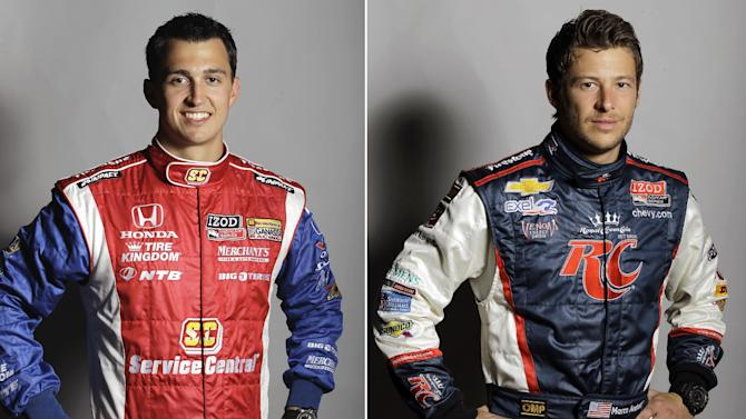 FILE - From left are March 7, 2012 file photos showing IndyCar drivers Graham Rahal and Marco Andretti in St. Petersburg, Fla. Heading into the Indianapolis 500, Andretti and Rahal aren't playing down the latest rivalry between the families.  (AP Photo/File)