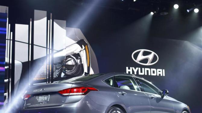 The new Hyundai Genesis is displayed during the press preview day of the North American International Auto Show in Detroit
