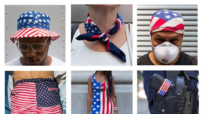 Combo picture shows different ways of wearing the U.S. flag, ahead of U.S. Independence Day