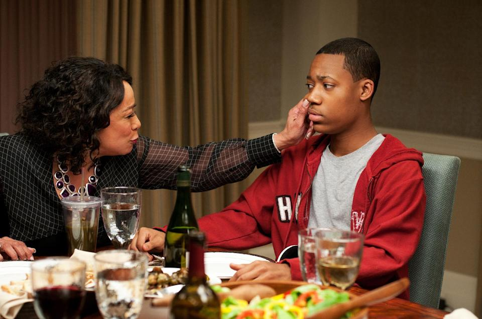 "This undated publicity photo released by Lionsgate shows, S. Epatha Merkerson, left, as Daphne Peeples  and Tyler James Williams as Simon Peeples in a scene from the film, Tyler Perry Presents ""Peeples.""  (AP Photo/Lionsgate, Nicole Rivelli)"