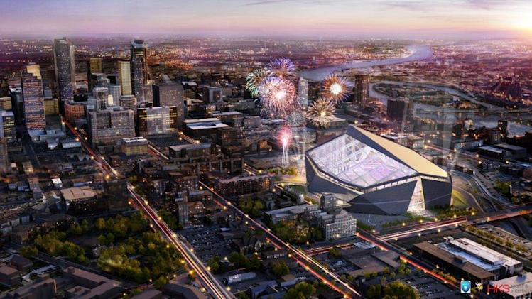 This handout released by the Minnesota Sports Facilities Authority and the Minnesota Vikings shows the new Minnesota Vikings stadium in this rendering done by HKS Sports and Entertainment Group and released Monday, May 13, 2013. The yet-to-be-named facility, which will open in 2016 and replace the Metrodome in downtown Minneapolis, will have a translucent roof and louvered front windows to let as much natural light in as possible. Construction will begin later this year.