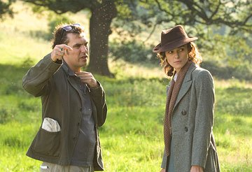 Director Joe Wright and Keira Knightley on the set of Focus Features' Atonement
