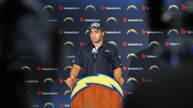 San Diego Chargers draft pick inside linebacker Manti Te'o,, from Notre Dame, speaks at an NFL football news conference held at the Chargers facility Saturday, April 27, 2013 in San Diego.  (AP Photo/Denis Poroy)