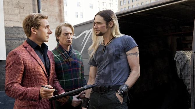 "This film image released by Warner Bros. Pictures shows, from left, Steve Carrell, Steve Buscemi and Jim Carrey in a scene from, ""The Incredible Burt Wonderstone."" (AP Photo/Warner Bros. Pictures, Ben Glass)"