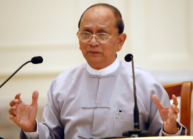 Myanmar President Thein Sein talks during a press conference at Presidential House in Naypyitaw, Myanmar, Sunday, Oct. 21, 2012. In a display of confidence and transparency, Myanmar&#39;s reformist president held his first press conference, breaking with the closed-mouth tradition of the previous military regime. (AP Photo/Khin Maung Win)
