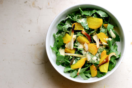 Kale Salad with Golden Beets and Green Garlic