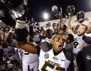 Missouri Tigers defensive lineman Michael Sam reacts after the game at Memorial Stadium as Missouri defeated Indiana 45-28 in Bloomington