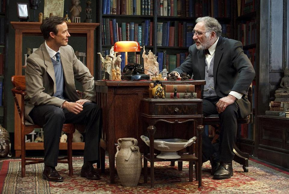 "This 2012 theater image released by Jim Randolph Media Relations shows Tom Cavanagh as C. S. Lewis, left, and Judd Hirsch as Sigmund Freud in Mark St. Germain's ""Freud's Last Session,"" performing at The Broad Stage in New York. (AP Photo/Jim Randolph Media Relations, Carol Rosegg)"
