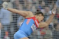 Croatia&#39;s Sandra Perkovic competes in the women&#39;s discus throw at the London 2012 Olympic Games