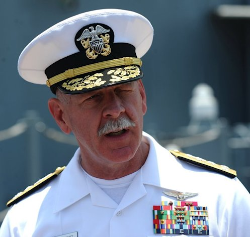 "Vice Admiral Scott Swift, commander of the US 7th Fleet, speaks to journalists in Vietnam on April 23, 2012. He has described military relations with China as ""collegial"" and rejected Cold War comparisons, urging ""methodical and thoughtful"" diplomacy in the region"