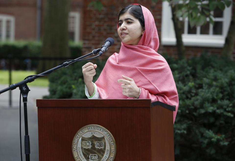 Malala Yousafzai speaks during a news conference on the Harvard University campus in Cambridge, Mass. on Friday, Sept. 27, 2013. The Pakistani teenager, an advocate for education for girls, survived a Taliban assassination attempt last year on her way home from school. (AP Photo/Jessica Rinaldi)