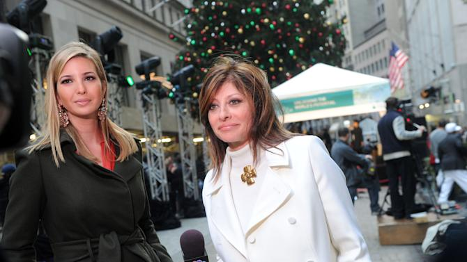 Ivanka Trump, left, mother and businesswoman, is interviewed by CNBC's Maria Bartiromo  outside the New York Stock Exchange (NYSE) on National Cookie Day at the 89th annual NYSE tree lighting ceremony, Tuesday, Dec. 4, 2012, in New York.  This holiday season, The Glad Products Company will make a donation to its longstanding partner Cookies for Kids' Cancer, a nonprofit that raises funds for pediatric cancer research through cookie sales. (Photo by Diane Bondareff/Invision for Glad/AP Images)