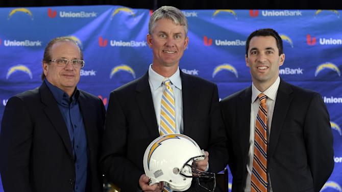 New San Diego Chargers head coach Mike McCoy, center, poses with President Dean Spanos, left, and general manager Tom Telesco, right, after being introduced during an NFL football news conference, Tuesday, Jan. 15, 2013, in San Diego. The former offensive coordinator for the Denver Broncos replaces Norv Turner, who was fired along with general manager A.J. Smith after the Chargers finished 7-9 and missed the playoffs for the third straight season. (AP Photo/Gregory Bull)