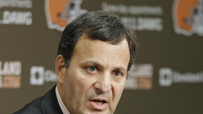 Mike Lombardi, the Cleveland Browns vice president of player personnel, answers questions during his introductory news conference at the NFL football team's practice facility in Berea, Ohio, Friday, Jan. 18, 2013. (AP Photo/Mark Duncan)