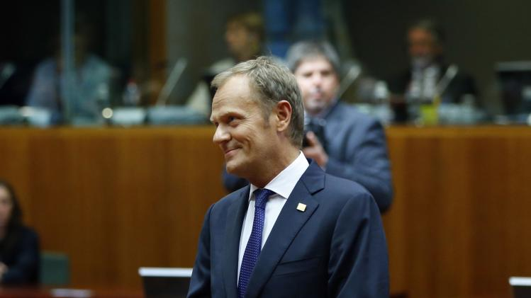 Poland's PM Tusk arrives at the European Council headquarters at the start of a European Union summit in Brussels