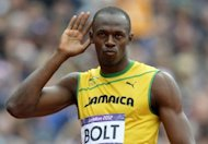 Usain Bolt before the men&#39;s 200m heats at the athletics event during the London 2012 Olympic Games on August 7, 2012