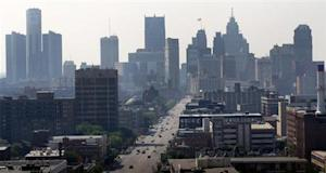 View of the Detroit skyline is seen looking south up Woodward Avenue in Detroit