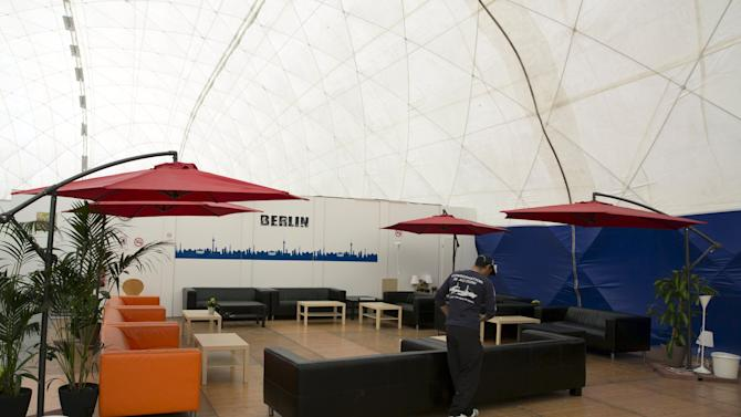 Recreation area of an emergency accomodation shelter for asylum applicants is seen in Berlin