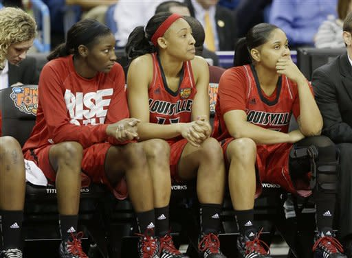 Louisville players on the bench watch during the second half of the national championship game against Connecticut at the women's Final Four of the NCAA college basketball tournament, Tuesday, April 9, 2013, in New Orleans