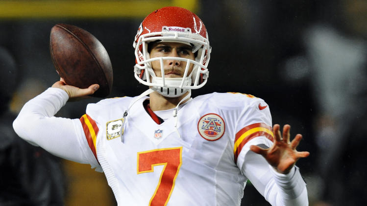 Kansas City Chiefs quarterback Matt Cassel (7) warms up before an NFL football game against the Pittsburgh Steelers, Monday, Nov. 12, 2012, in Pittsburgh. (AP Photo/Don Wright)