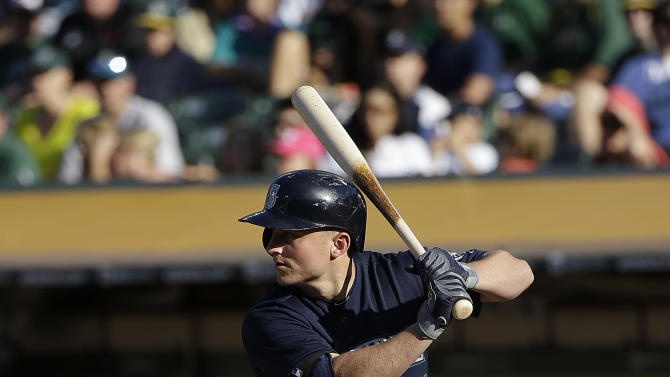 Seattle Mariners' Kyle Seager bats against the Oakland Athletics during a baseball game in Oakland, Calif., Friday, July 3, 2015. (AP Photo/Jeff Chiu)