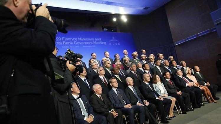 G20 finance ministers and central bank governors gather for a photo at the start of the annual International Monetary Fund and World Bank fall meetings in Washington