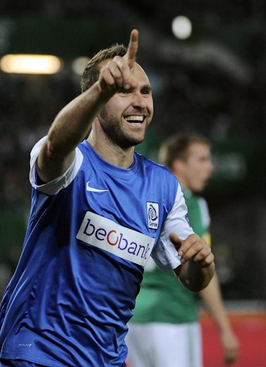 Genk's Thomas Buffel celebrates after scoring during their Europa League group G soccer match between SK Rapid Vienna  and KRC Genk, in  Vienna, Austria, Thursday, Nov. 7, 2013