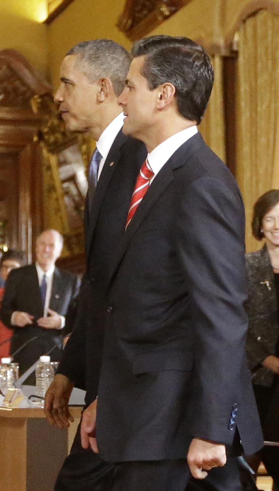 President Barack Obama and Mexico's President Enrique Pena Nieto arrive for their bilateral meeting at the Palacio Nacional in Mexico City, Thursday, May 2, 2013. (AP Photo/Pablo Martinez Monsivais)