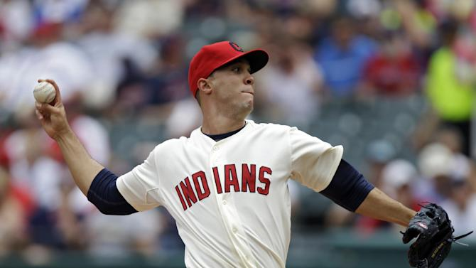 Cleveland Indians starting pitcher Ubaldo Jimenez delivers against the Tampa Bay Rays in the first inning of the MLB American League baseball game Saturday, June 1, 2013, in Cleveland. (AP Photo/Mark Duncan)