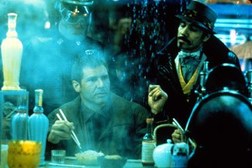 Harrison Ford and Edward James Olmos in Warner Brothers' Blade Runner