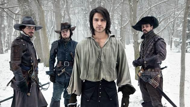 Santiago Cabrera (Aramis), Tom Burke (Athos), Luke Pasqualino (D'Artagnan) and Howard Charles (Porthos) in BBC America's 2014-series 'The Musketeers' -- Larry Horricks/BBC