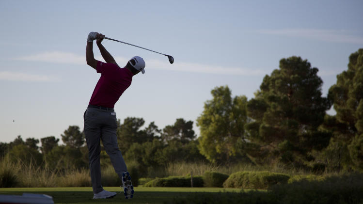 Charles Howell III tees off the first hole during the Justin Timberlake Shriners Hospitals for Children Open golf tournament on Thursday, Oct. 4, 2012, in Las Vegas. (AP Photo/Julie Jacobson)