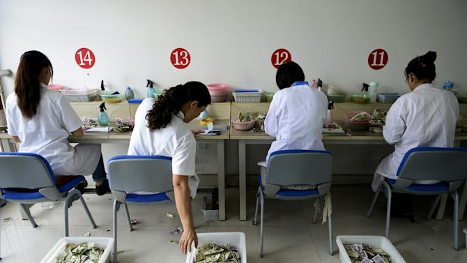 In this photo taken on Sunday, Oct. 7, 2012, workers count the small currency notes from bus fares at the accounting center of a bus company in Rizhao city in east China's Shandong province. The World Bank cut this year's growth outlook for developing Asia-Pacific economies to 7.2 percent from its May forecast of 7.6 percent. The bank cut its forecast for China, the region's biggest economy, to 7.7 percent from May's 8.2 percent. (AP Photo) CHINA OUT