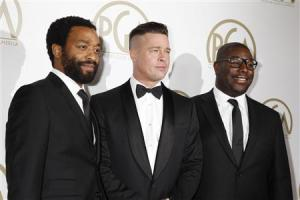 "Brad Pitt and Steve McQueen, producers of the film ""12 Years A Slave"", along with cast Chiwetel Ejiofor, arrive at the 25th Annual Producers Guild of America Awards in Beverly Hills"