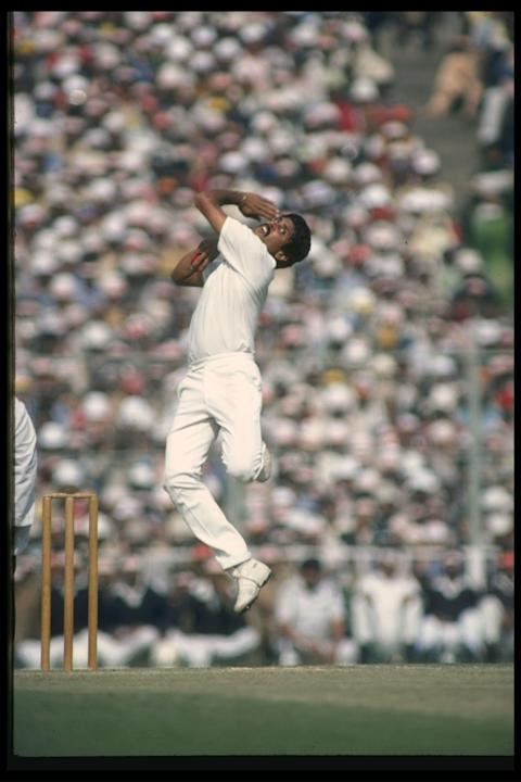 Kapil Dev India's top fast bowler in action
