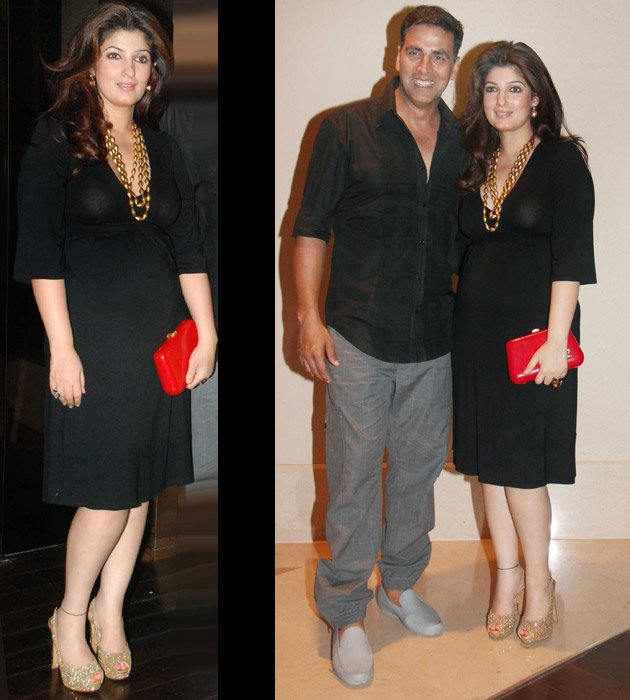 Twinkle solo shot in black dress and with hubby on right side - (3) -  Twinkle khanna Latest pics