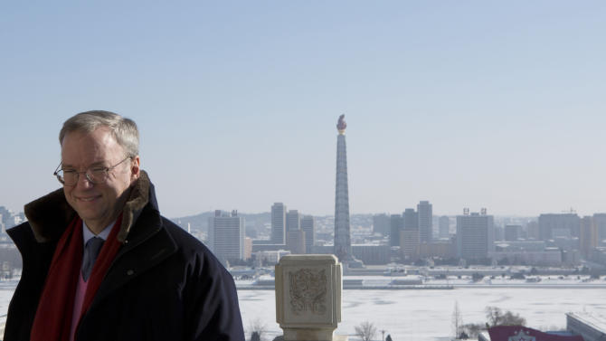 Executive Chairman of Google, Eric Schmidt stands on a balcony at the Grand Peoples Study House overlooking Juche Tower in Pyongyang, North Korea on Wednesday, Jan. 9, 2013. Schmidt and former Governor of New Mexico Bill Richardson are currently in North Korea. Richardson said Wednesday that his delegation is pressing North Korea to put a moratorium on missile launches and nuclear tests and to allow more cell phones and an open Internet for its citizens. (AP Photo/David Guttenfelder)