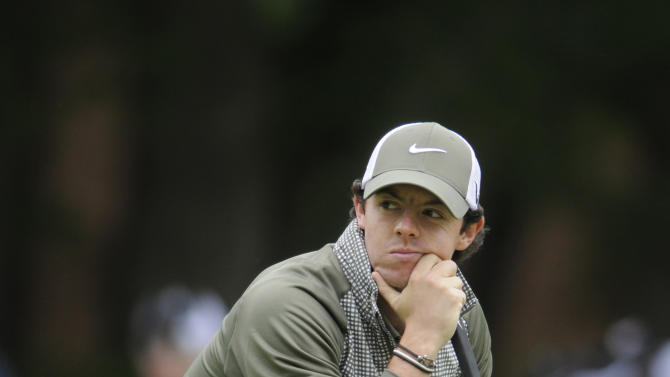 Rory McIlroy, of Northern Ireland, looks on from the third green during the third round of the Wells Fargo Championship golf tournament at Quail Hollow Club in Charlotte, N.C., Saturday, May 4, 2013. (AP Photo/Mike McCarn)