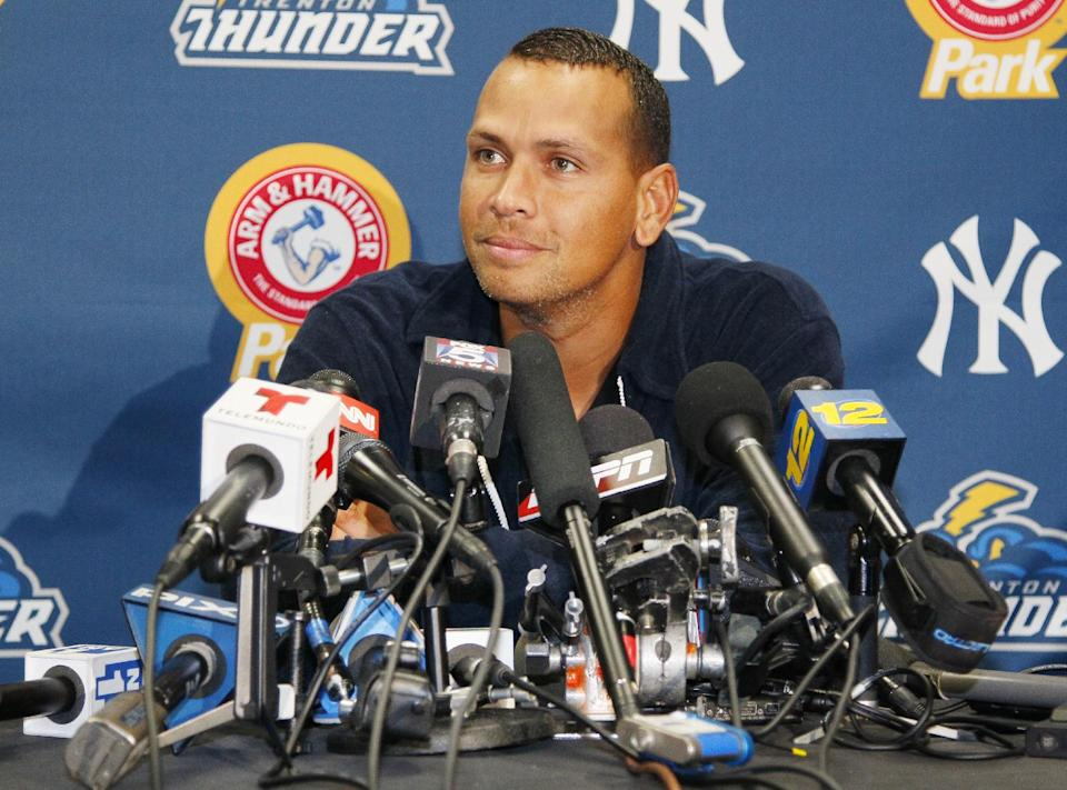 New York Yankees' Alex Rodriguez answers questions from the media at a news conference following a Class AA baseball game with the Trenton Thunder against the Reading Phillies, Friday, Aug. 2, 2013, in Trenton, N.J. (AP Photo/Tom Mihalek)