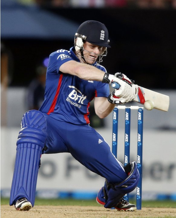 Eoin Morgan of England plays a shot against New Zealand during the final cricket match