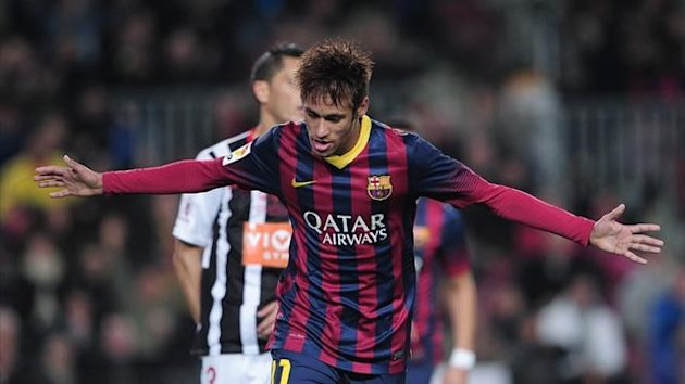 Barcelona's Neymar celebrates scoring against Cartagena in the Copa del Rey (AFP)