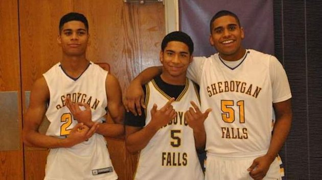 "Jordan, Juwaun and Jamal Jackson were accused of flashing game symbols in this ""goofy"" photo -- Sheboygan Falls News"