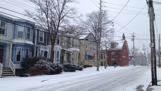 A snowy, quiet street in Halifax. A passing storm could dump 40 cm of snow on the Maritime city.