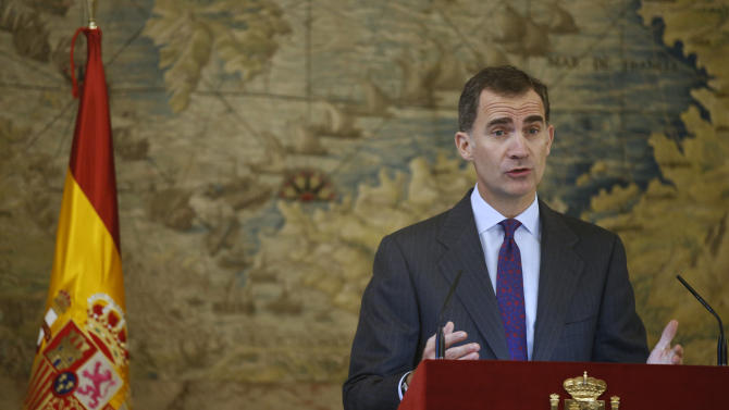 Spain's King Felipe delivers a speech during a ceremony celebrating a law through which Sephardic Jews can apply for Spanish citizenship at the Royal Palace in Madrid