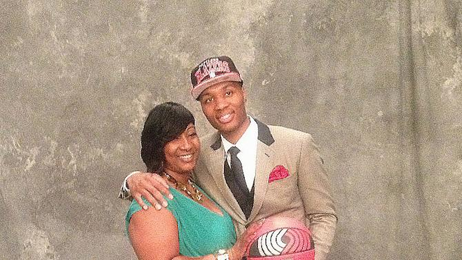 Blazers rookie Damian Lillard and his mother Gina Johnson on draft night.